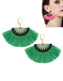 Bohemia Green Fan Shape Decorated Simple Tassels Short Earrings