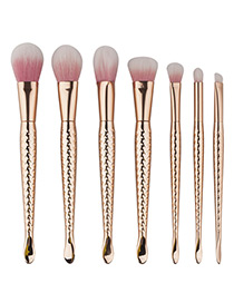 Lovely Gold Color Mermaid Design Color-matching Decorated Cosmetic Brush (7pcs)