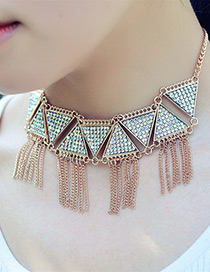 Fashion Gold Color Tassel Decorated Triangle Shape Necklace