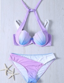 Lovely Purple Shell Shape Decorated Simple Color Matching Bathing Suit