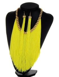 Bohemia Fluorescent Yellow Long Tassel Decorated Simple Pure Color Jewelry Sets