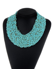 Bohemia Blue Pure Color Decorated Simple Hand-woven Design Necklace