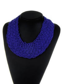 Bohemia Dark Purple Pure Color Decorated Simple Hand-woven Design Necklace