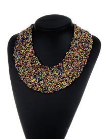 Bohemia Black+yellow Pure Color Decorated Simple Hand-woven Design Necklace
