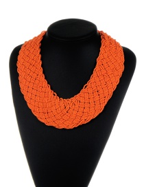 Bohemia Orange Pure Color Decorated Simple Hand-woven Design Necklace