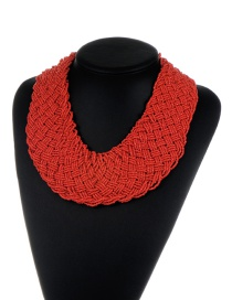 Bohemia Claret-red Pure Color Decorated Simple Hand-woven Design Necklace
