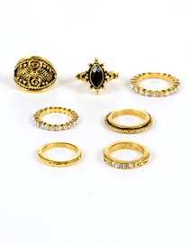 Vintage Gold Color Oval Shape Decorated Simple Pure Color Rings(7pcs)