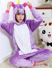 Lovely Purple Unicorn Design Color Matching Connection Pajamas