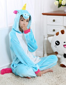 Lovely Blue Unicorn Design Color Matching Connection Pajamas