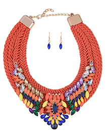 Bohemia Multi-color Oval Shape Decorated Simple Hand-woven Jewelry Sets
