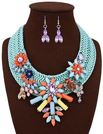 Bohemia Blue Geometric Shape Gemstone Decorated Simple Hand-woven Jewelry Sets