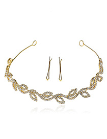 Elegant Gold Color Hollow Out Leaf Shape Decorated Simple Hair Clasp