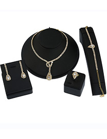 Elegant Gold Color Oval Shape Decorated Simple Jewelry Sets