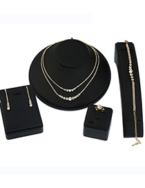 Elegant Gold Color Double Layer Design Pure Color Jewelry Sets