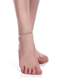 Fashion Silver Color Heart Shape Decorated Simple Double Layer Anklet