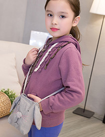 Lovely Gray Rabbit Decorated Pure Color Shoulder Bag