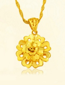 Elegant Gold Color Hollow Out Flower Decorated Round Shape Pendant (not Including Chain)