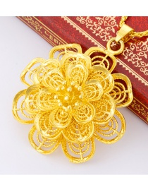 Elegant Gold Color Hollow Out Flower Decorated Simple Pendant (not Including Chain)