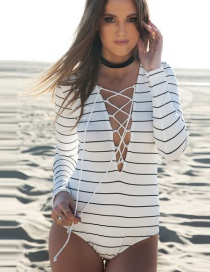 Elegant White Stripe Decorated Simple Tied Rope Desisn Swimwear