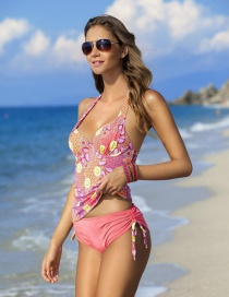Fashion Red Painted Design Simple Swimwear