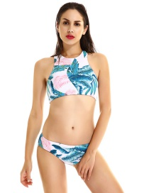 Fashion Multi-color Leaf Shape Pattern Decorated Simple Swimwear