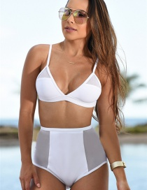 Fashion White Pure Color Decorated Simple Swimwear