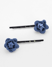 Lovely Navy Flower Decorated Hairpin