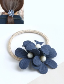 Fashion Navy Double Flower Decorated Hair Band