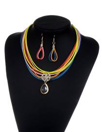 Luxury Multi-color Oval Shape Pendant Decorated Multilayer Jewelry Sets