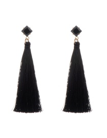 Bohemia Black Square Shape Diamond Decorated Simple Tassel Long Earrings