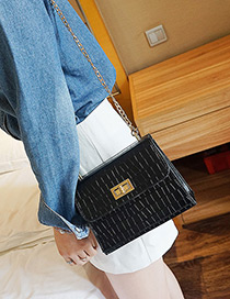 Fashion Black Buckle Decorated Pure Color Shoulder Bag