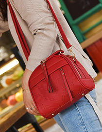Fashion Red Tassel Pendant Decorated Pure Color Shoulder Bag