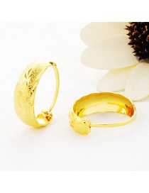 Elegant Gold Color Pure Color Decorated Round Shape Simple Earrings