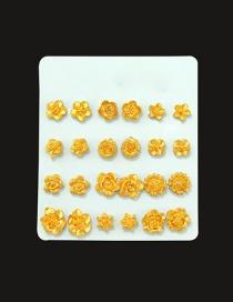 Elegant Gold Color Flower Shape Decorated Simple Earrings (1pair )