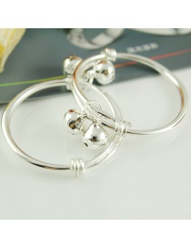 Elegant Silver Color Leaf Shape Decorated Simple Pure Color Baby Bracelet
