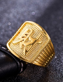 Fashion Gold Color Chinese Characters Decorated Simple Square Shape Ring