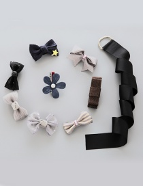 Lovely Black+gray Flower&bowknot Decorated Color Matching Hairpin (8pcs)