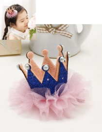 Lovely Blue Pearls&crown Decorated Color Matching Hairpin