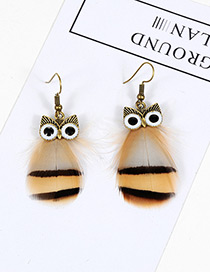 Vintage Light Orange Owl Shape Design Simple Earrings