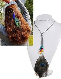 Vintage Multi-color Feather Pendant Decorated Simple Necklace