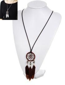 Bohemia Brown Feather Pendant Decorated Necklace