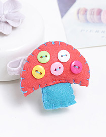 Lovely Watermelon Red Mushroon Shape Decorated Color Matching Hairpin