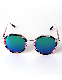 Lovely Blue Flower Pattern Decorated Anti-ultraviolet Children Sunglasses
