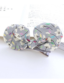 Fashion Gray Flower Pattern Decorated Bowknot Design Hairpin
