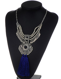 Fashion Blue Tassel Pendant Decorated Hollow Out Necklace