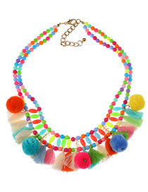 Fashion Multi-color Tassel&fuzzy Ball Decorated Double Layer Pom Necklace