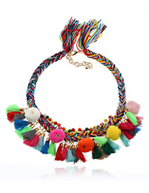Fashion Multi-color Fuzzy Balls&tassel Decorated Color Matching Pom Necklace