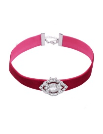 Fashion Pink Geometric Shape Diamond Decorated Pure Color Choker