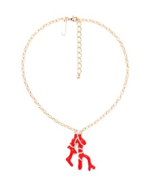 Fashion Red Coral Pendant Decorated Simple Necklace
