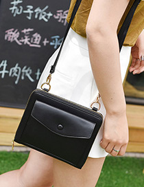 Fashion Black Pure Color Decorated Square Shape Shoulder Bag
